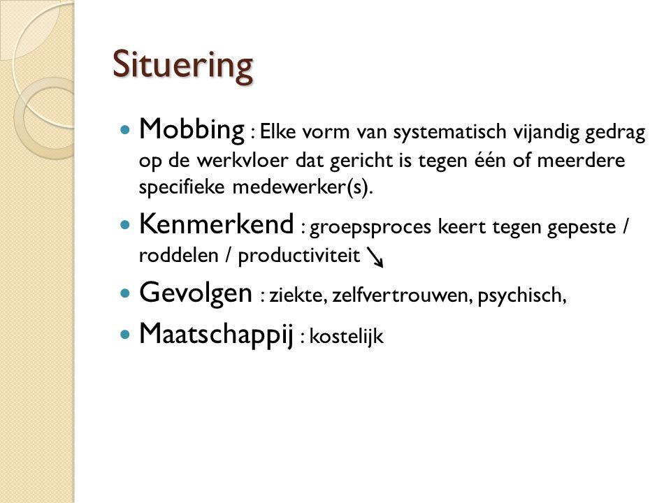 Situering  Mobbing : Elke vorm van systematisch vijandig gedrag op de werkvloer dat gericht is tegen één of meerdere specifieke medewerker(s).