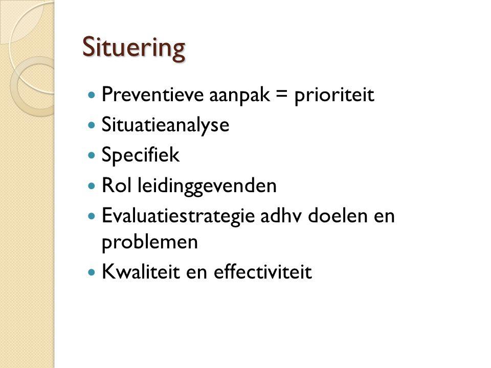 Situering  Preventieve aanpak = prioriteit  Situatieanalyse  Specifiek  Rol leidinggevenden  Evaluatiestrategie adhv doelen en problemen  Kwaliteit en effectiviteit