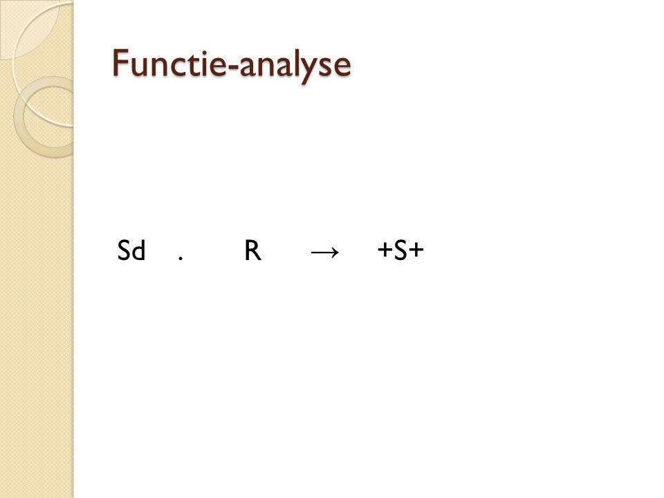 Functie-analyse  Uitlokkende factoren (antecedenten of Sd)  Gedrag (R)  Instandhoudende factoren (consequenten of +S+)