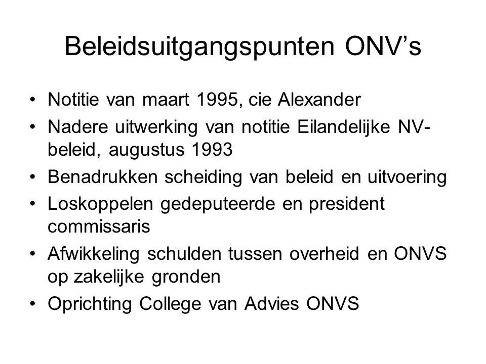 Beleidsuitgangspunten ONV's •Notitie van maart 1995, cie Alexander •Nadere uitwerking van notitie Eilandelijke NV- beleid, augustus 1993 •Benadrukken