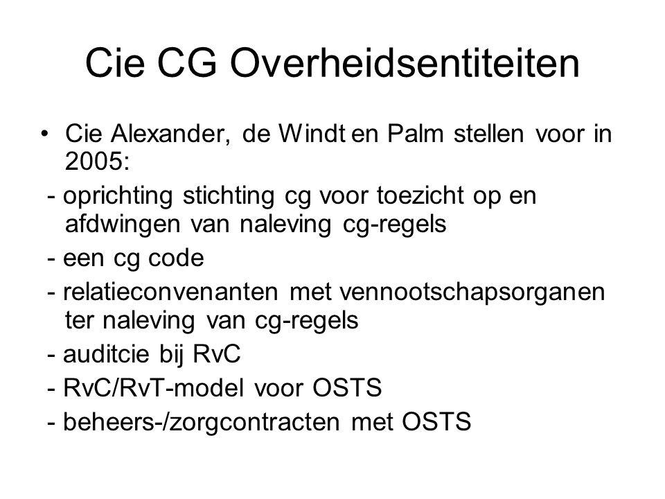 Cie CG Overheidsentiteiten •Cie Alexander, de Windt en Palm stellen voor in 2005: - oprichting stichting cg voor toezicht op en afdwingen van naleving