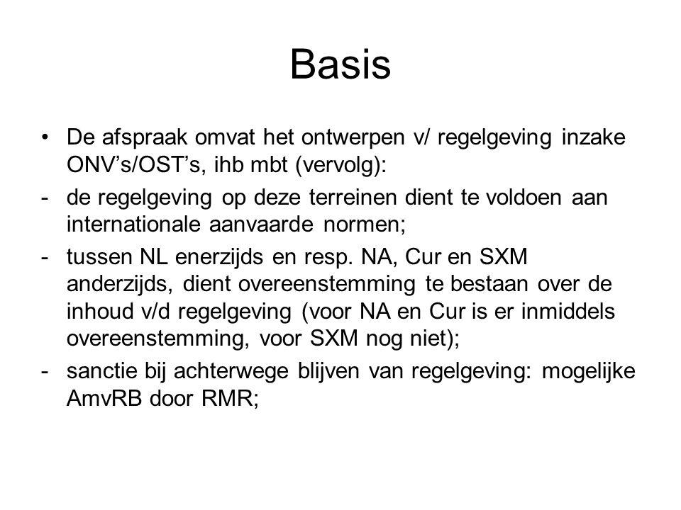 Basis •De afspraak omvat het ontwerpen v/ regelgeving inzake ONV's/OST's, ihb mbt (vervolg): -de regelgeving op deze terreinen dient te voldoen aan in