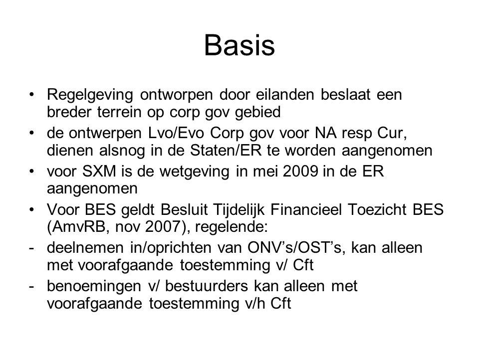Basis •Voor BES geldt Besluit Tijdelijk Financieel Toezicht BES (AmvRB, nov 2007), regelende (vervolg): -ambtenaren en politieke ambtsdragers mogen geen bestuurders zijn -vervreemding v/ aandelen kan alleen met goedkeuring v/h Cft -het Cft kan dwingende voorschriften geven a/ bestuurders mbt een div beleid, benoeming, ontslag, salaris bestuurders -jaarrekeningen worden uiterlijk 6 maanden na boekjaar a/ Cft gestuurd •Voorts ligt er een corp gov code in conceptvorm klaar voor Bon (waarschijnlijk tzt ook geldig voor EUX en Saba)