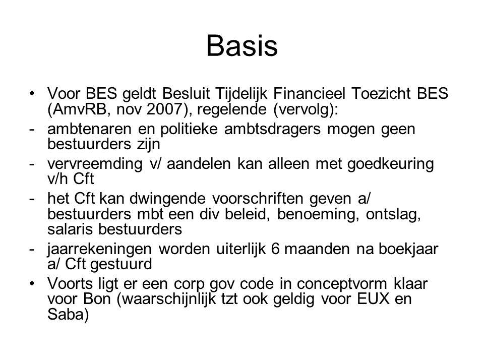 Basis •Voor BES geldt Besluit Tijdelijk Financieel Toezicht BES (AmvRB, nov 2007), regelende (vervolg): -ambtenaren en politieke ambtsdragers mogen ge