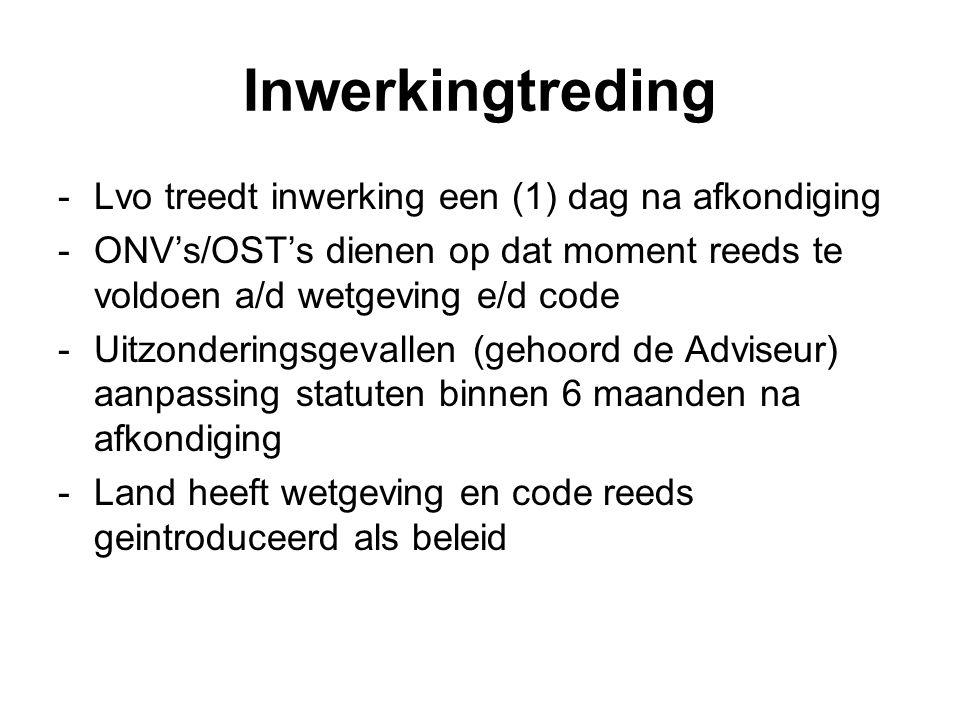 Inwerkingtreding -Lvo treedt inwerking een (1) dag na afkondiging -ONV's/OST's dienen op dat moment reeds te voldoen a/d wetgeving e/d code -Uitzonder