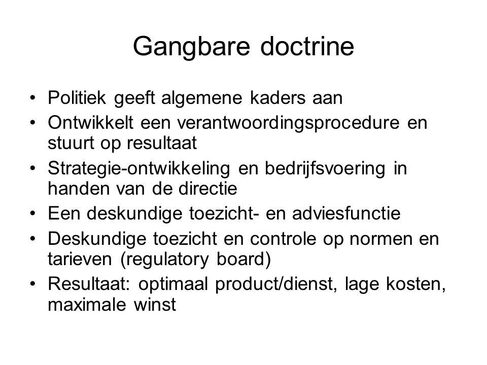 Gangbare doctrine •Politiek geeft algemene kaders aan •Ontwikkelt een verantwoordingsprocedure en stuurt op resultaat •Strategie-ontwikkeling en bedri