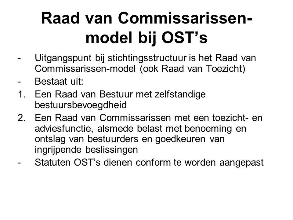 Raad van Commissarissen- model bij OST's -Uitgangspunt bij stichtingsstructuur is het Raad van Commissarissen-model (ook Raad van Toezicht) -Bestaat u