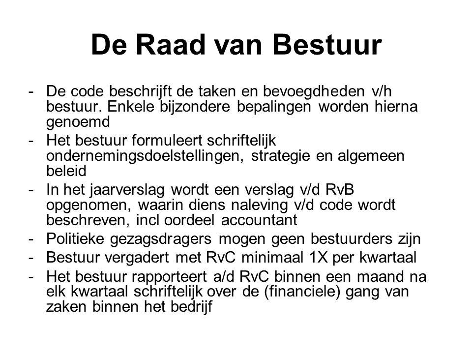 De Raad van Bestuur -Salaris bestuursleden wordt vastgesteld door RvC, binnen de kaders v/d AvA -De RvC voert jaarlijks een functionerings- en beoordelingsgesprek met het bestuur -Maximale vergoeding bij onvrijwillig ontslag bedraagt ten hoogste het jaarsalaris -De toelichting v/d jaarrekening maakt melding v/d structuur en hoogte v/d individuele salarissen - toko den toko is verboden