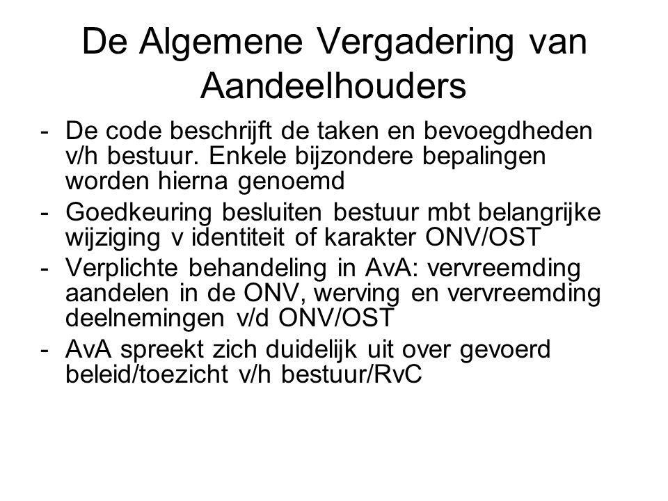 De Algemene Vergadering van Aandeelhouders -De code beschrijft de taken en bevoegdheden v/h bestuur. Enkele bijzondere bepalingen worden hierna genoem