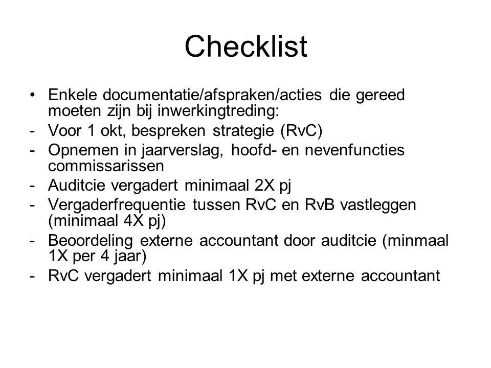 Checklist •Enkele documentatie/afspraken/acties die gereed moeten zijn bij inwerkingtreding: -Voor 1 okt, bespreken strategie (RvC) -Opnemen in jaarve