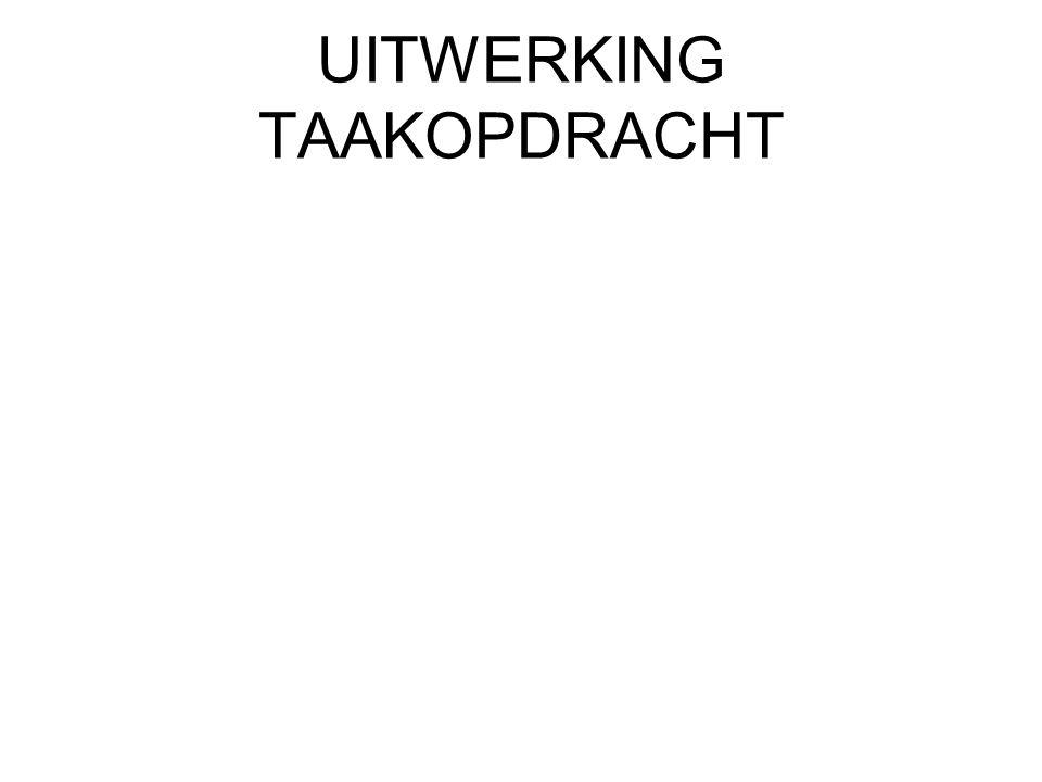 UITWERKING TAAKOPDRACHT