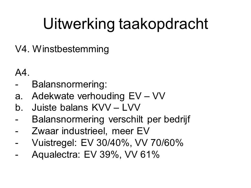 Uitwerking taakopdracht V4. Winstbestemming A4. -Balansnormering: a.Adekwate verhouding EV – VV b.Juiste balans KVV – LVV -Balansnormering verschilt p