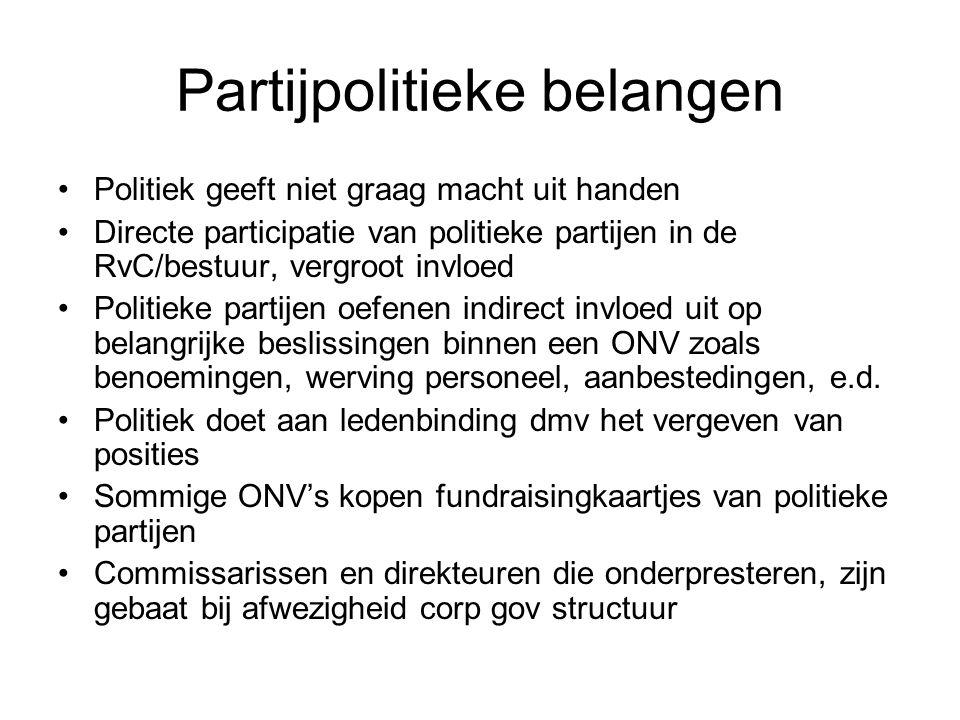 Partijpolitieke belangen •Politiek geeft niet graag macht uit handen •Directe participatie van politieke partijen in de RvC/bestuur, vergroot invloed