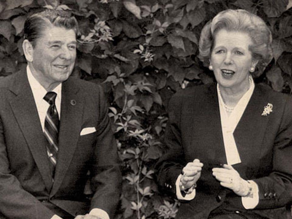 Foto Reagan & Thatcher Neoliberale maatregelen van beide Antivakbond Sandinisten/FMLN/Etc