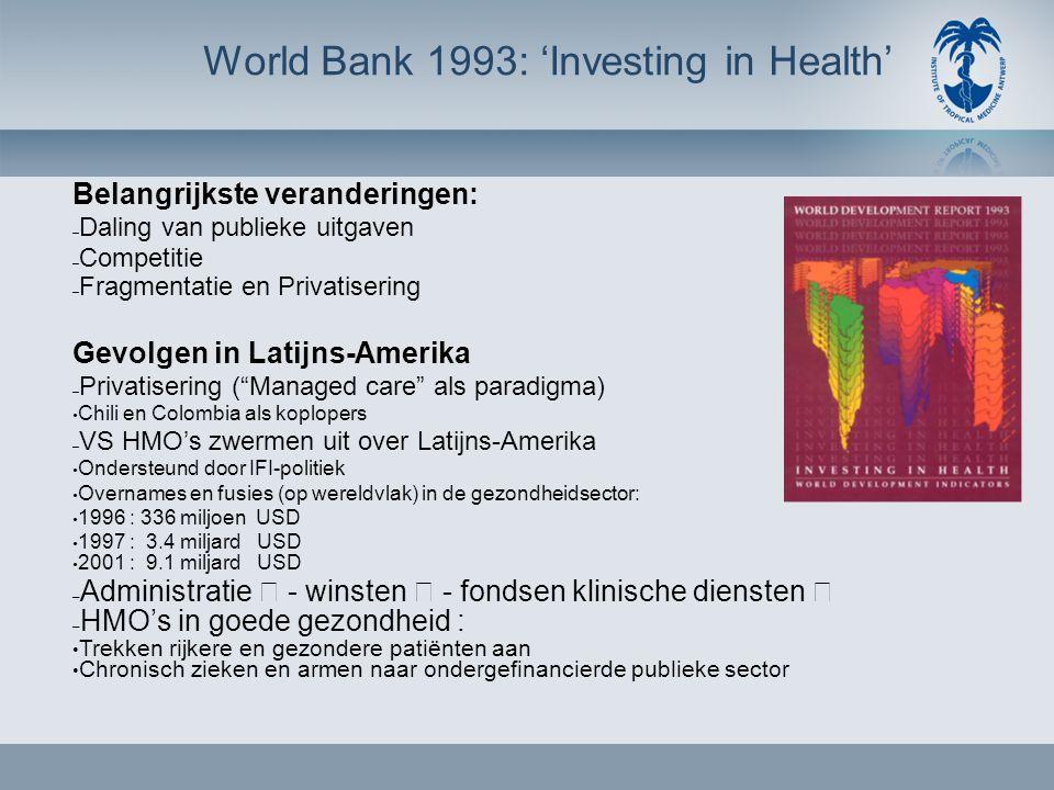 World Bank 1993: 'Investing in Health' Belangrijkste veranderingen: – Daling van publieke uitgaven – Competitie – Fragmentatie en Privatisering Gevolgen in Latijns-Amerika – Privatisering ( Managed care als paradigma) • Chili en Colombia als koplopers – VS HMO's zwermen uit over Latijns-Amerika • Ondersteund door IFI-politiek • Overnames en fusies (op wereldvlak) in de gezondheidsector: • 1996 : 336 miljoen USD • 1997 : 3.4 miljard USD • 2001 : 9.1 miljard USD – Administratie  - winsten  - fondsen klinische diensten  – HMO's in goede gezondheid : • Trekken rijkere en gezondere patiënten aan • Chronisch zieken en armen naar ondergefinancierde publieke sector