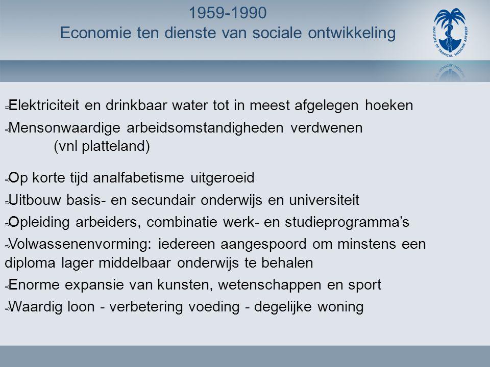 1959-1990 Economie ten dienste van sociale ontwikkeling  Elektriciteit en drinkbaar water tot in meest afgelegen hoeken  Mensonwaardige arbeidsomsta