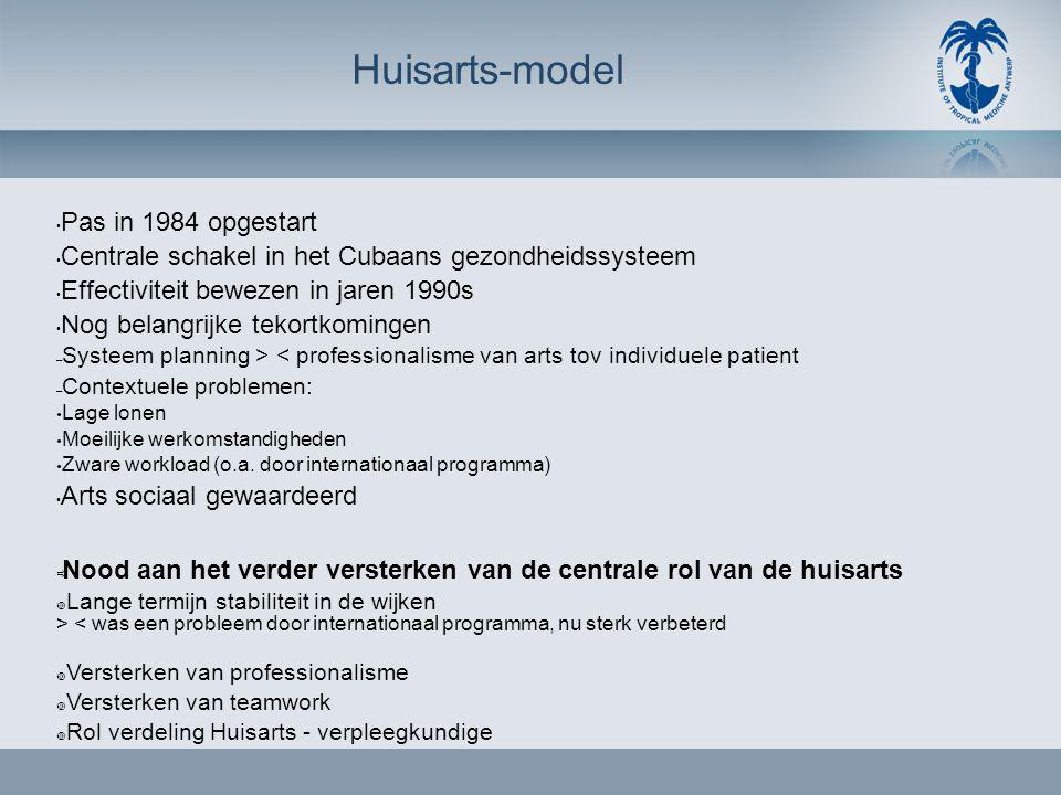 Huisarts-model • Pas in 1984 opgestart • Centrale schakel in het Cubaans gezondheidssysteem • Effectiviteit bewezen in jaren 1990s • Nog belangrijke t
