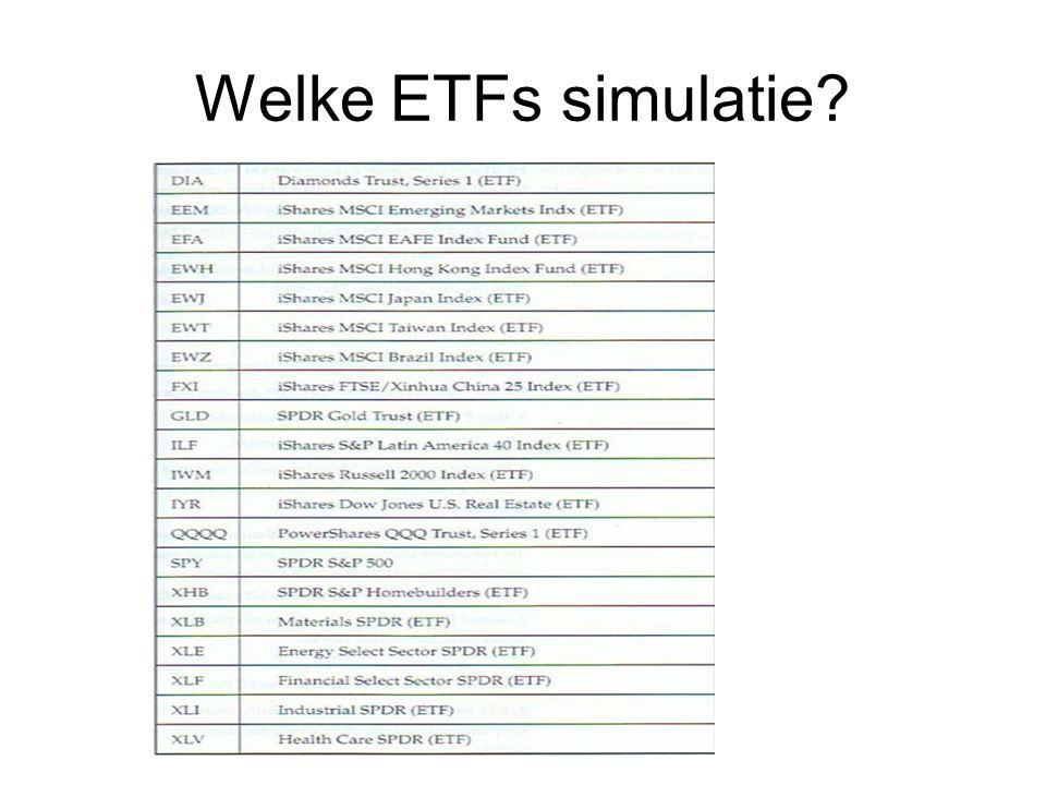 Welke ETFs simulatie?