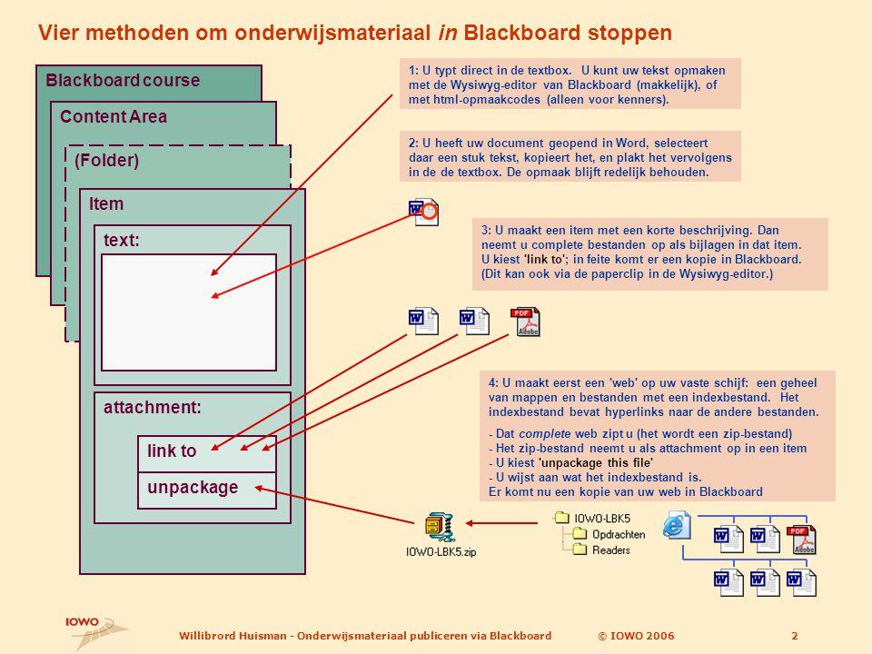 © IOWO 2006Willibrord Huisman - Onderwijsmateriaal publiceren via Blackboard3 BB-course Item attachment link to unpackage Methode 4: (zie vorige dia): U zipt het web en neemt het zipbestand op als attachment en kiest unpackage .