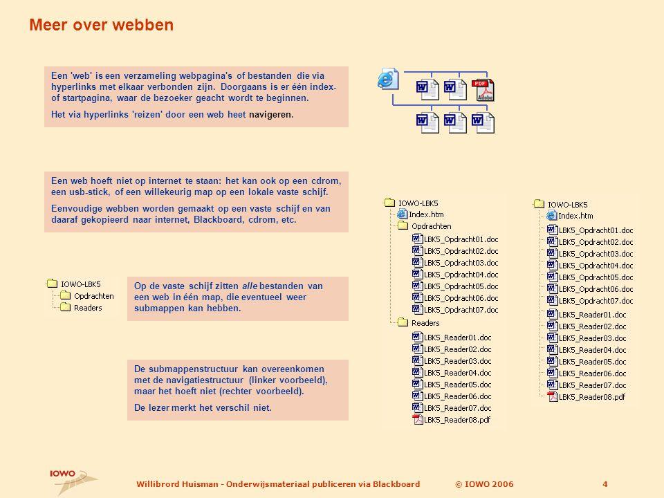 © IOWO 2006Willibrord Huisman - Onderwijsmateriaal publiceren via Blackboard4 Meer over webben Een web is een verzameling webpagina s of bestanden die via hyperlinks met elkaar verbonden zijn.