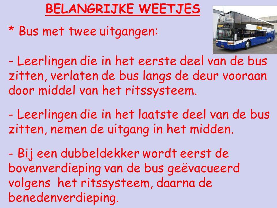 BELANGRIJKE WEETJES * Bus met twee uitgangen: - Leerlingen die in het eerste deel van de bus zitten, verlaten de bus langs de deur vooraan door middel van het ritssysteem.