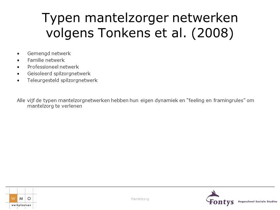 Mantelzorg Typen mantelzorger netwerken volgens Tonkens et al. (2008) •Gemengd netwerk •Familie netwerk •Professioneel netwerk •Geisoleerd spilzorgnet