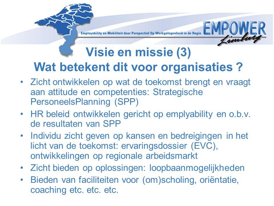 Visie en missie (3) Wat betekent dit voor organisaties ? •Zicht ontwikkelen op wat de toekomst brengt en vraagt aan attitude en competenties: Strategi
