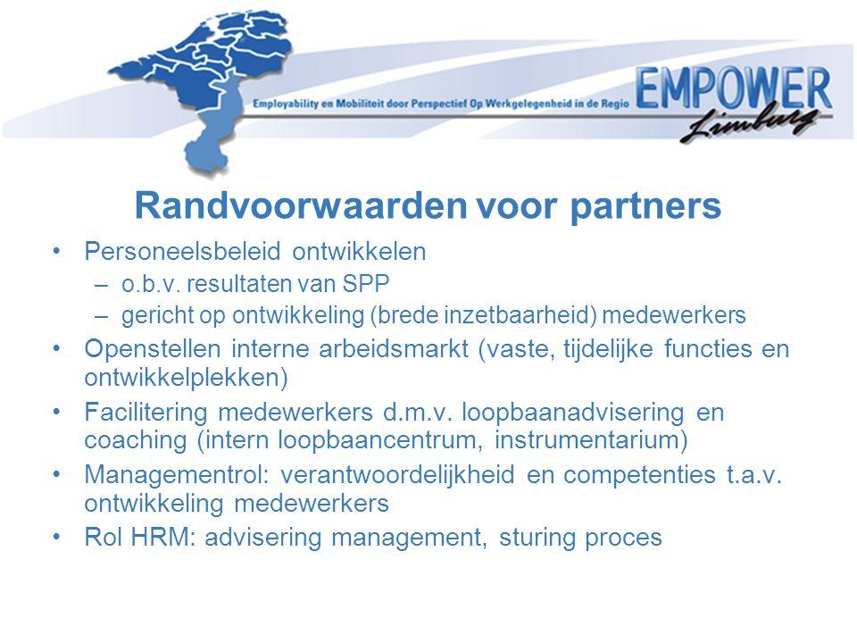 Randvoorwaarden voor partners •Personeelsbeleid ontwikkelen –o.b.v. resultaten van SPP –gericht op ontwikkeling (brede inzetbaarheid) medewerkers •Ope