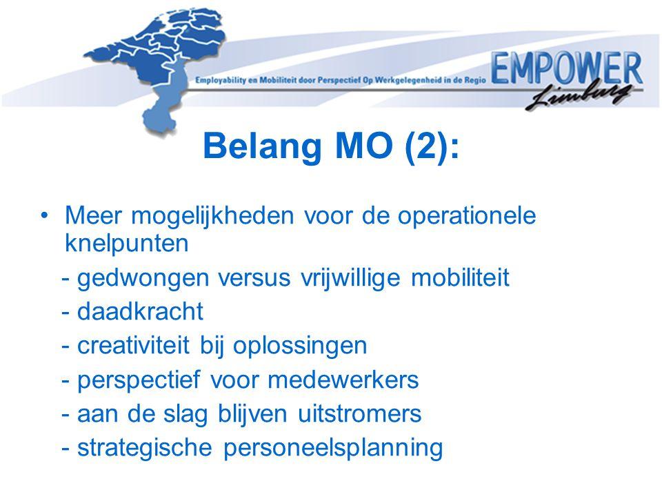 Belang MO (2): •Meer mogelijkheden voor de operationele knelpunten - gedwongen versus vrijwillige mobiliteit - daadkracht - creativiteit bij oplossing