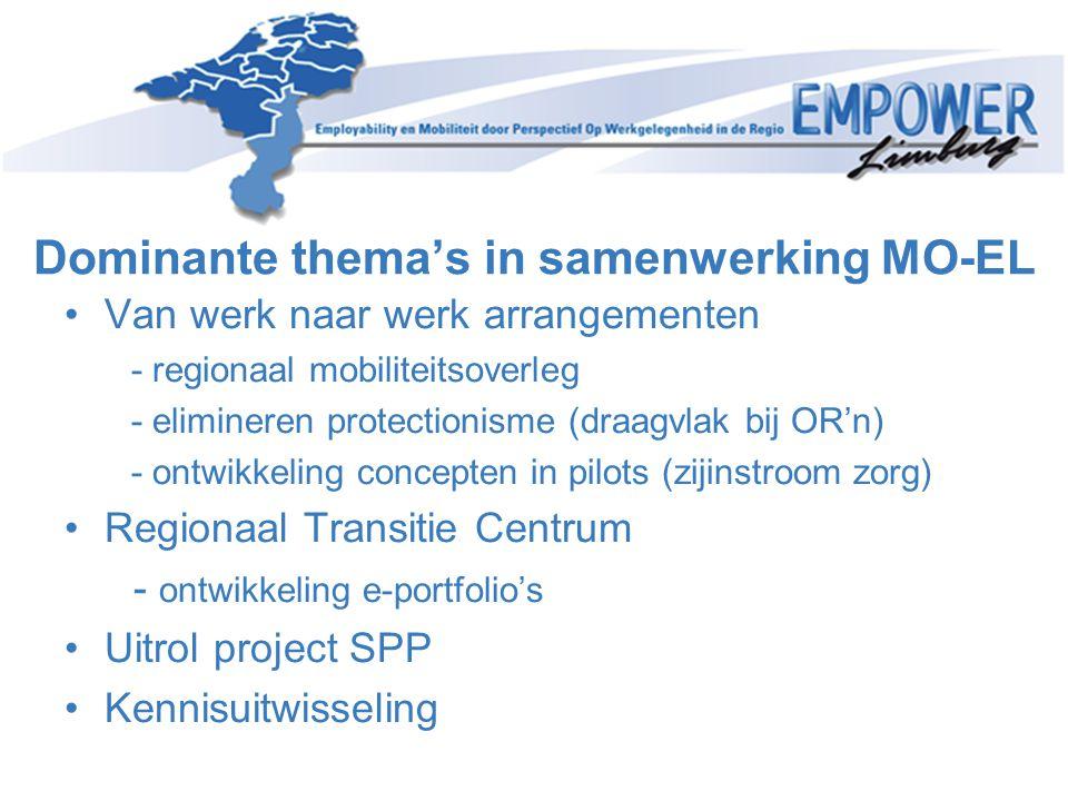 Dominante thema's in samenwerking MO-EL •Van werk naar werk arrangementen - regionaal mobiliteitsoverleg - elimineren protectionisme (draagvlak bij OR