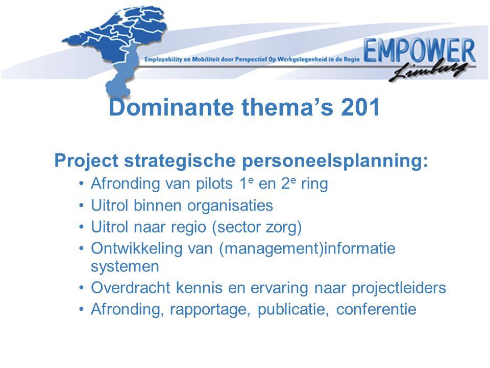 Dominante thema's 201 Project strategische personeelsplanning: •Afronding van pilots 1 e en 2 e ring •Uitrol binnen organisaties •Uitrol naar regio (s
