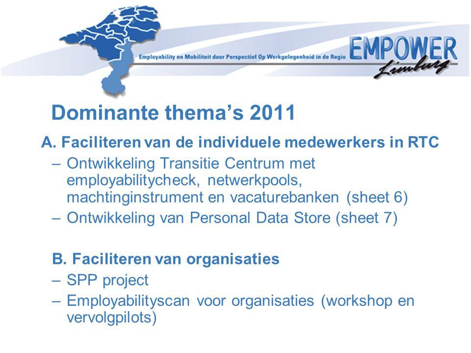 Dominante thema's 2011 A. Faciliteren van de individuele medewerkers in RTC –Ontwikkeling Transitie Centrum met employabilitycheck, netwerkpools, mach