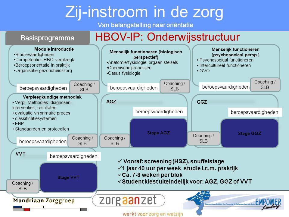 Zij-instroom in de zorg Van belangstelling naar oriëntatie Module Introductie •Studievaardigheden •Competenties HBO-verpleegk •Beroepsoriëntatie in pr