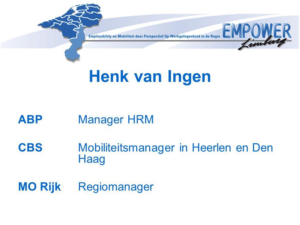 Henk van Ingen ABP Manager HRM CBS Mobiliteitsmanager in Heerlen en Den Haag MO Rijk Regiomanager