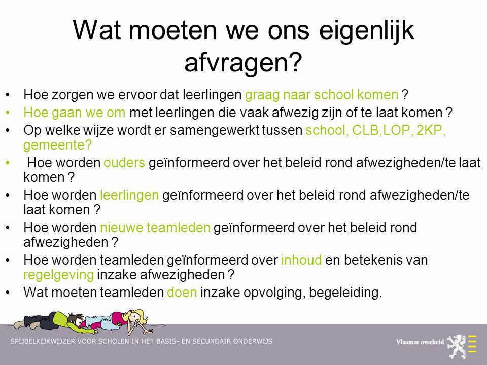 Wat moeten we ons eigenlijk afvragen? •Hoe zorgen we ervoor dat leerlingen graag naar school komen ? •Hoe gaan we om met leerlingen die vaak afwezig z