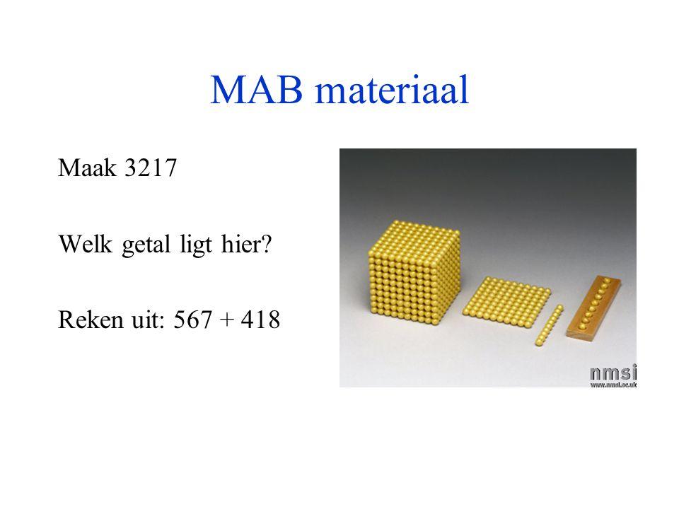 MAB materiaal Maak 3217 Welk getal ligt hier? Reken uit: 567 + 418