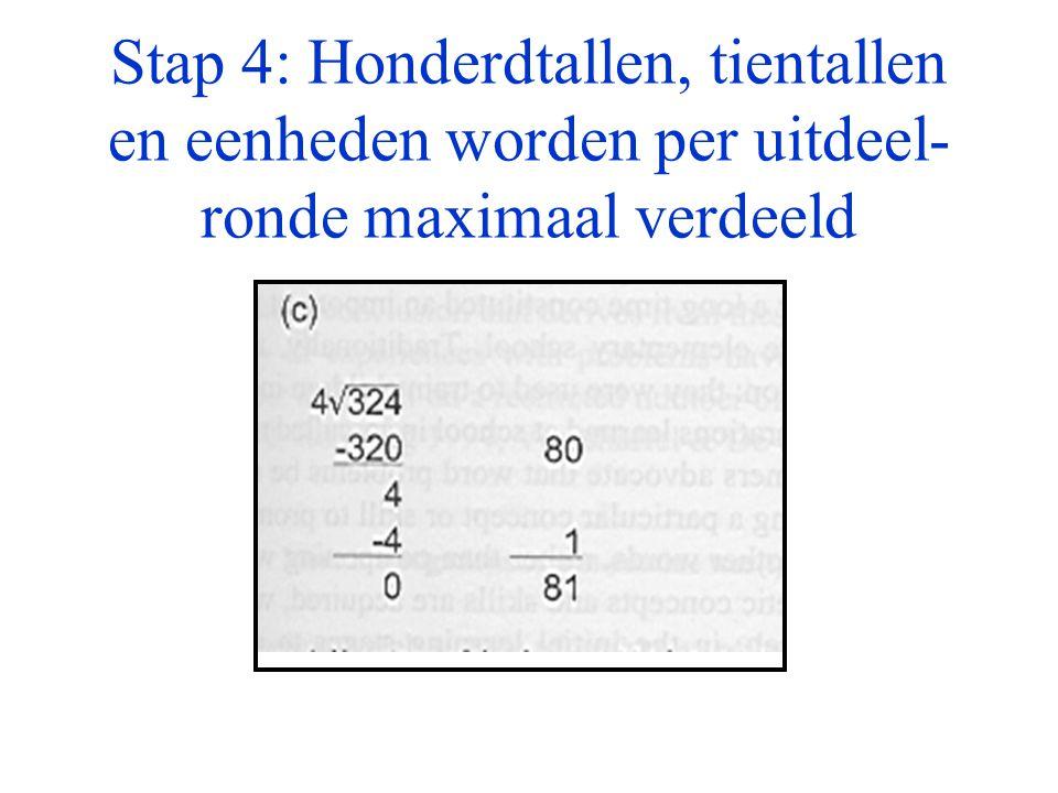 Stap 4: Honderdtallen, tientallen en eenheden worden per uitdeel- ronde maximaal verdeeld