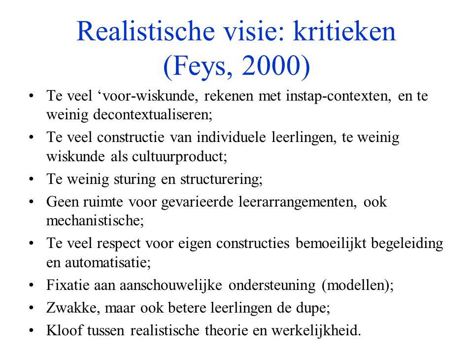 Realistische visie: kritieken (Feys, 2000) •Te veel 'voor-wiskunde, rekenen met instap-contexten, en te weinig decontextualiseren; •Te veel constructi