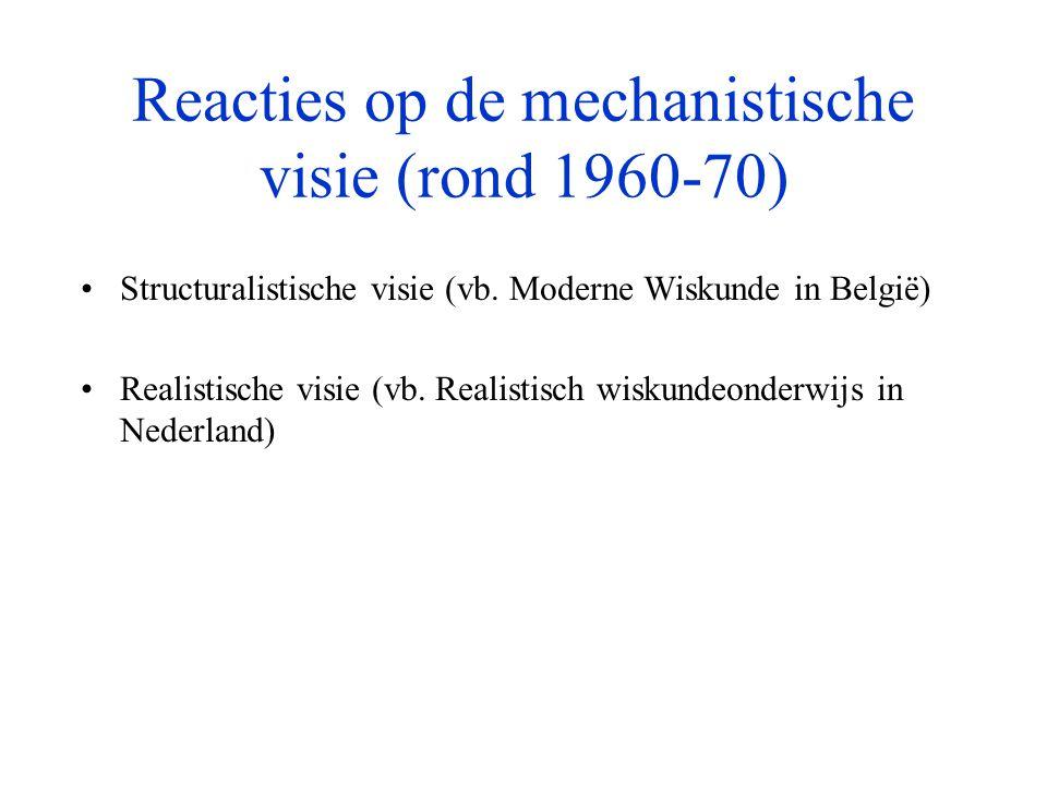 4.1 Enkele nuanceringen •Rekenonderwijs voor de periode van de Moderne Wiskunde was – zeker in Vlaanderen - niet overal en niet zuiver mechanistisch (zoals hierboven omschreven) •Invloed van de Moderne Wiskunde was in de dagelijkse klaspraktijk minder groot (zowel in de breedte als in de diepte) dan vaak wordt beweerd, zeker in het Vlaams katholiek basisonderwijs •Realistisch wiskundeonderwijs kent – zoals de andere stromingen - vele gedaanten: er is een meer gematigde en een hardliners variant, én er gaapt een kloof tussen concept en realisatie, tussen theorie en praktijk…