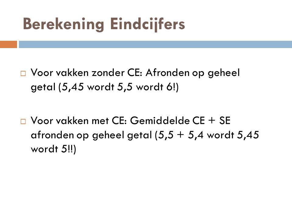 Berekening Eindcijfers  Voor vakken zonder CE: Afronden op geheel getal (5,45 wordt 5,5 wordt 6!)  Voor vakken met CE: Gemiddelde CE + SE afronden op geheel getal (5,5 + 5,4 wordt 5,45 wordt 5!!)