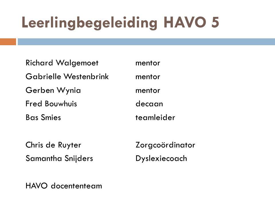 Leerlingbegeleiding HAVO 5 Richard Walgemoetmentor Gabrielle Westenbrink mentor Gerben Wyniamentor Fred Bouwhuisdecaan Bas Smiesteamleider Chris de Ru