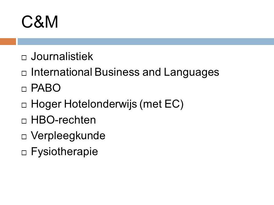 C&M  Journalistiek  International Business and Languages  PABO  Hoger Hotelonderwijs (met EC)  HBO-rechten  Verpleegkunde  Fysiotherapie