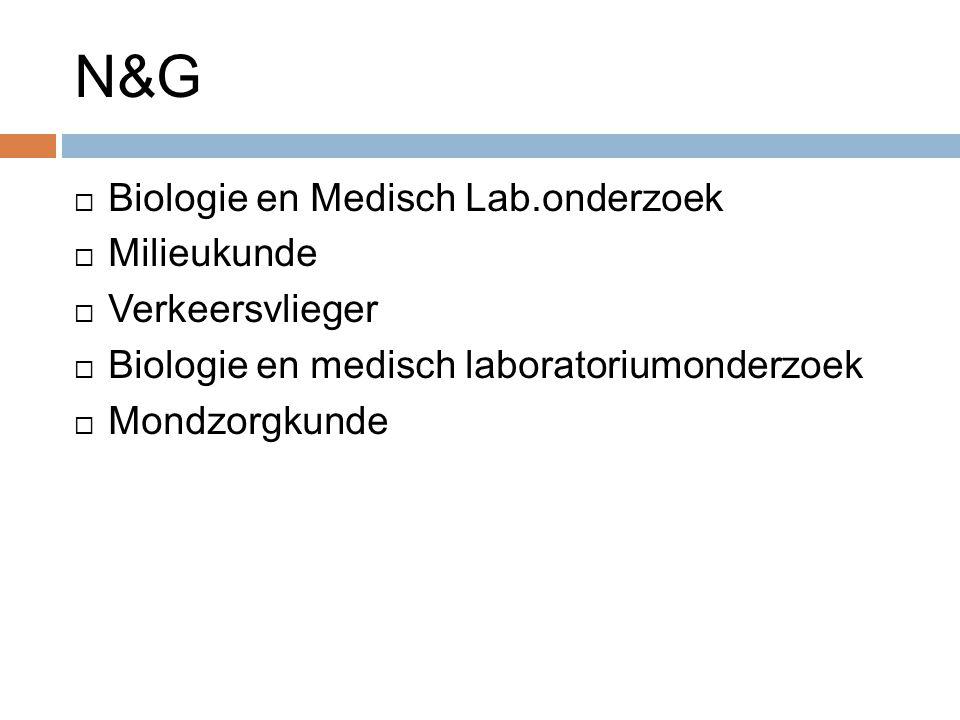 N&G  Biologie en Medisch Lab.onderzoek  Milieukunde  Verkeersvlieger  Biologie en medisch laboratoriumonderzoek  Mondzorgkunde