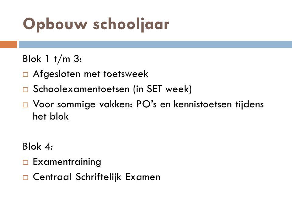 Opbouw schooljaar Blok 1 t/m 3:  Afgesloten met toetsweek  Schoolexamentoetsen (in SET week)  Voor sommige vakken: PO's en kennistoetsen tijdens he
