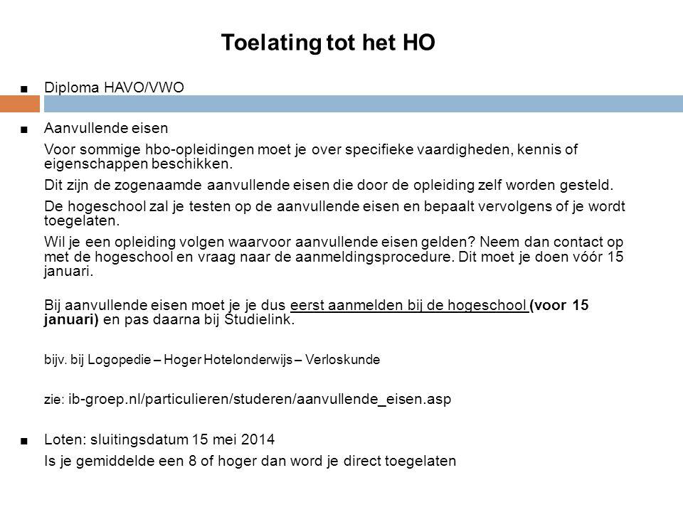 Toelating tot het HO Diploma HAVO/VWO Aanvullende eisen Voor sommige hbo-opleidingen moet je over specifieke vaardigheden, kennis of eigenschappen bes