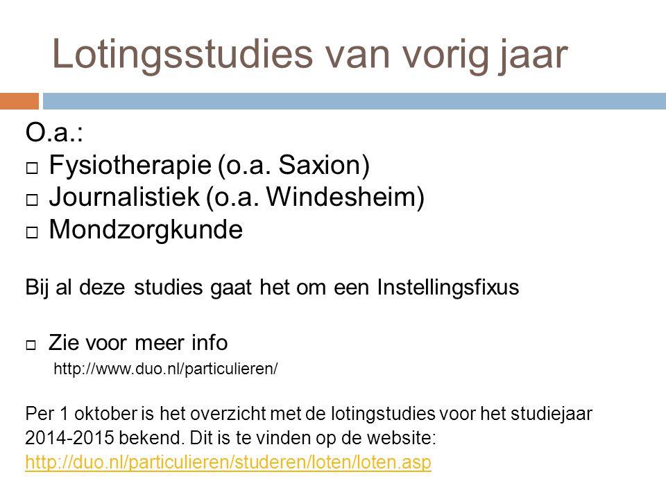 Lotingsstudies van vorig jaar O.a.:  Fysiotherapie (o.a. Saxion)  Journalistiek (o.a. Windesheim)  Mondzorgkunde Bij al deze studies gaat het om ee