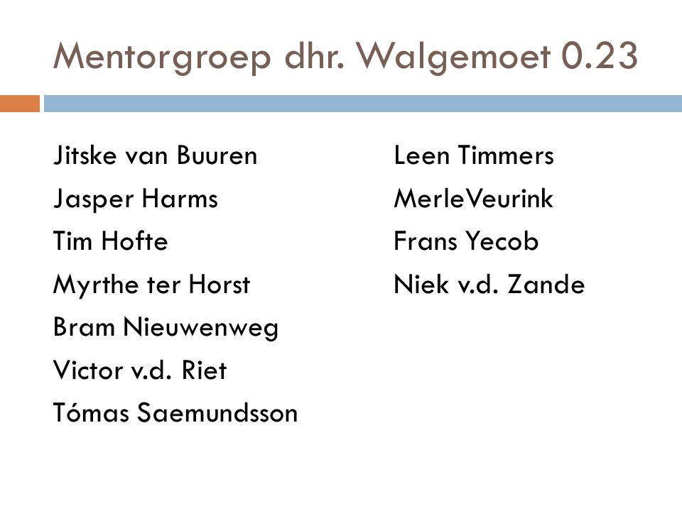 Mentorgroep dhr. Walgemoet 0.23 Jitske van Buuren Leen Timmers Jasper Harms MerleVeurink Tim HofteFrans Yecob Myrthe ter Horst Niek v.d. Zande Bram Ni