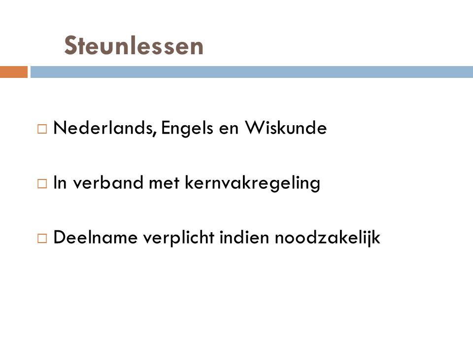 Steunlessen  Nederlands, Engels en Wiskunde  In verband met kernvakregeling  Deelname verplicht indien noodzakelijk