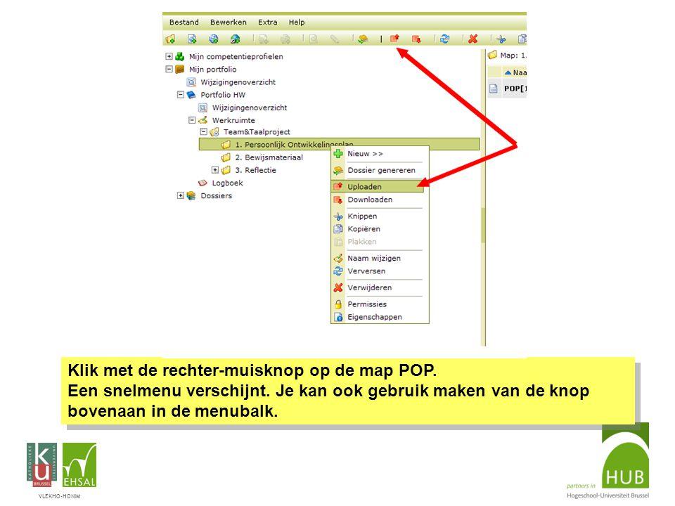 VLEKHO-HONIM Klik met de rechter-muisknop op de map POP.