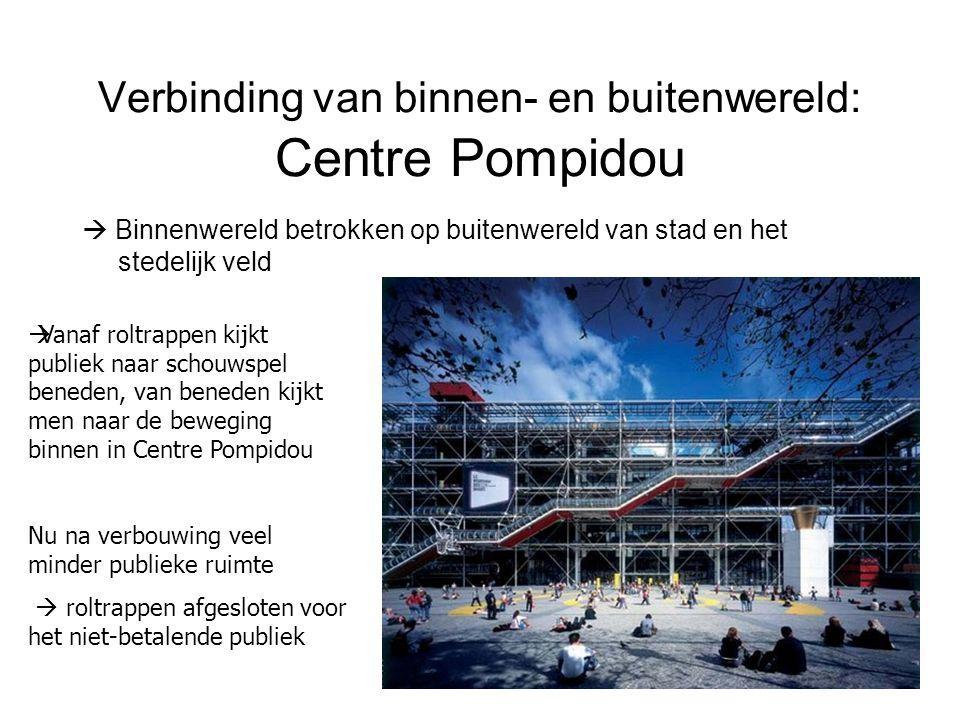 Verbinding van binnen- en buitenwereld: Centre Pompidou  Binnenwereld betrokken op buitenwereld van stad en het stedelijk veld  Vanaf roltrappen kij